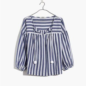 Madewell Peasant Tie Front Top in Shea Stripe Blue